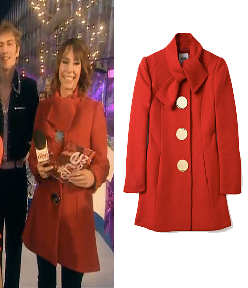 Alex Jones red coat the one show Dec 1st | Celebrity Fashion Finds